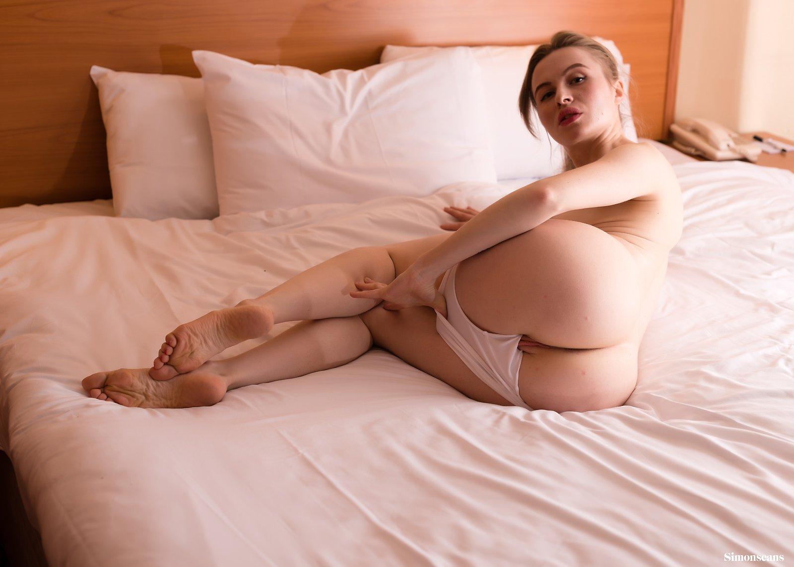 Partially naked milf